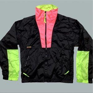 Vintage Columbia Black Anton Pink Green Jacket